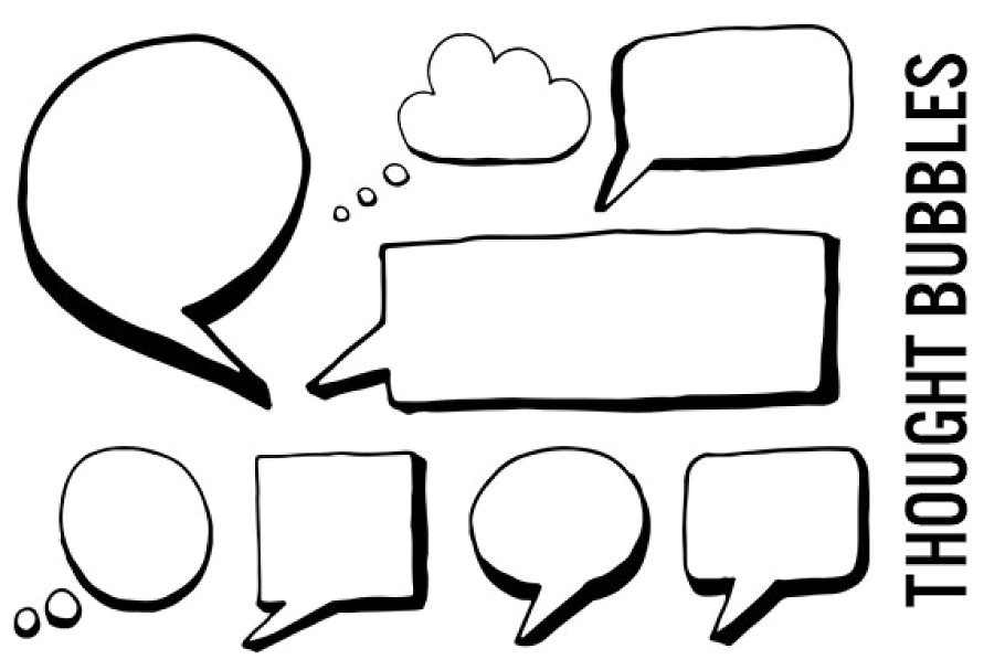 Clipart thought bubbles image black and white library Speech and Thought Bubbles Clipart image black and white library