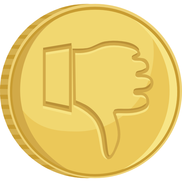 Thumbs down clip art clip black and white stock Thumbs Down Gold Coin Clip Art at Clker.com - vector clip art online ... clip black and white stock