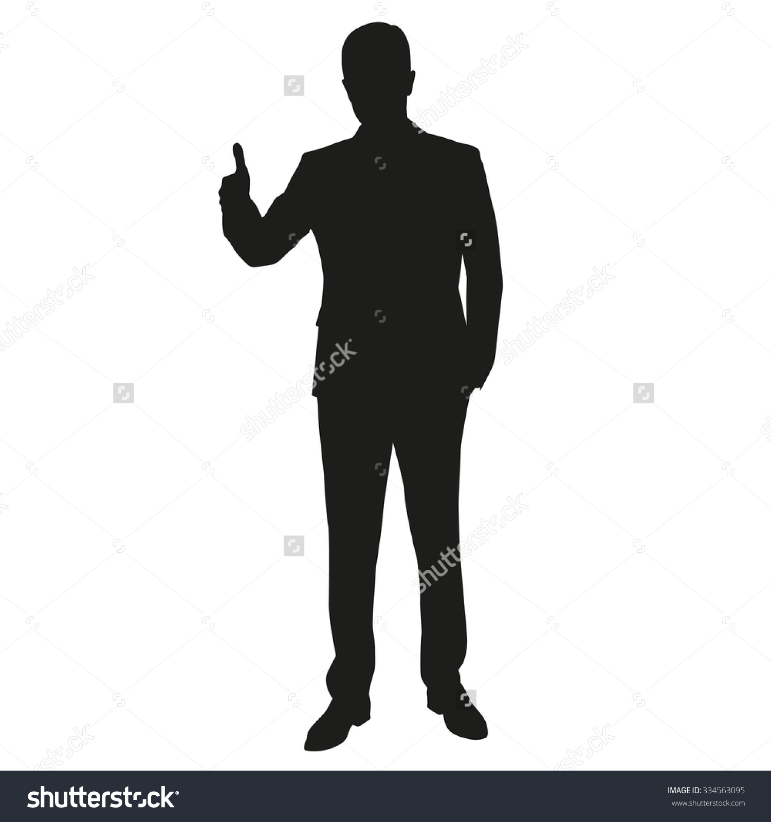 Man clipartfest with sign. Clipart thumbs up silhouette