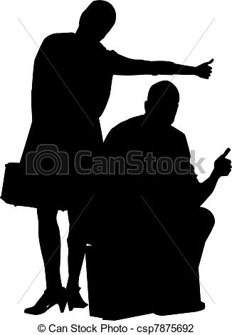 Vector illustration of two. Clipart thumbs up silhouette