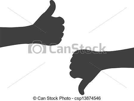 Eps vector of hand. Clipart thumbs up silhouette