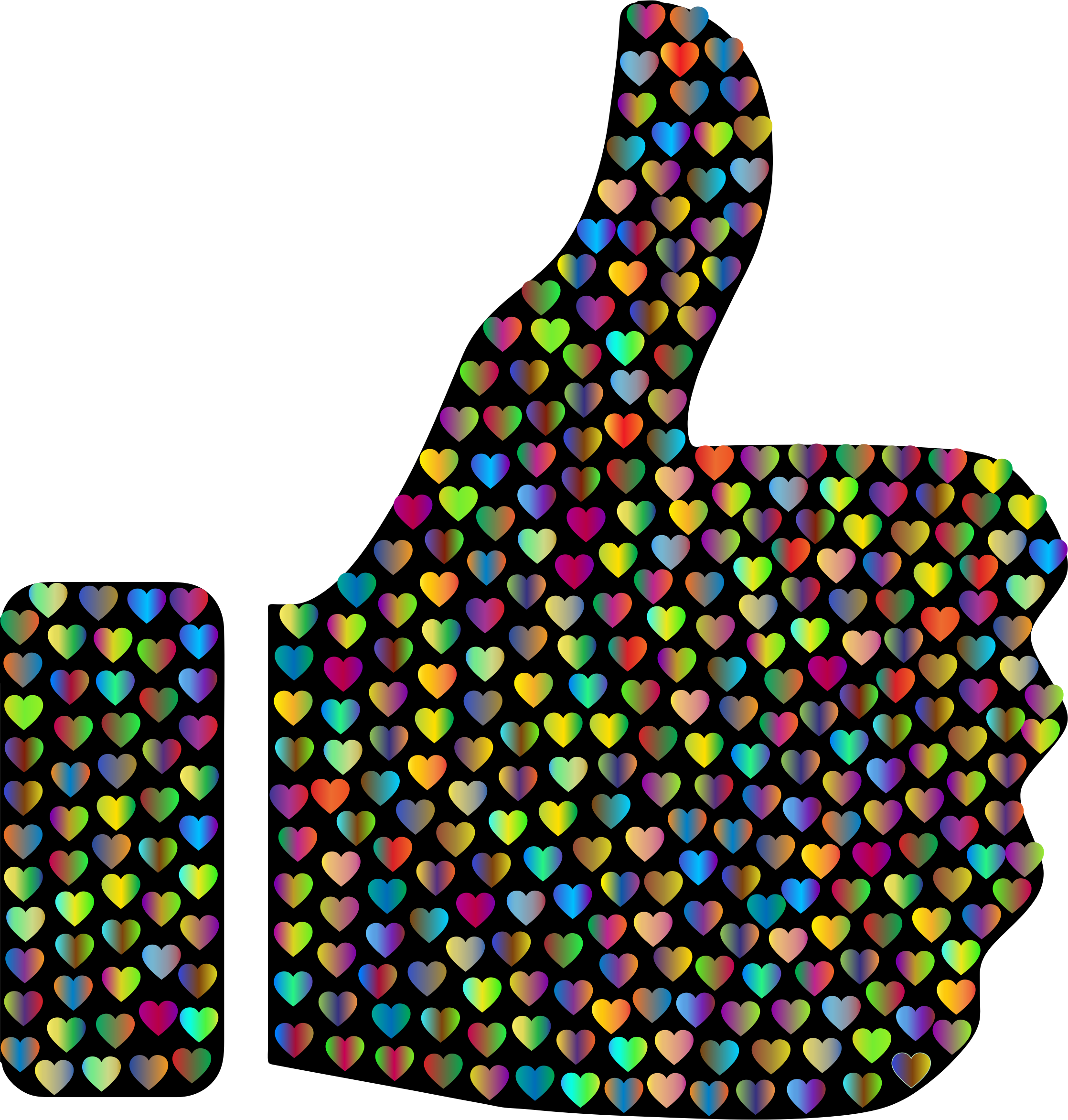Clipart thumbs up silhouette. Prismatic hearts big image