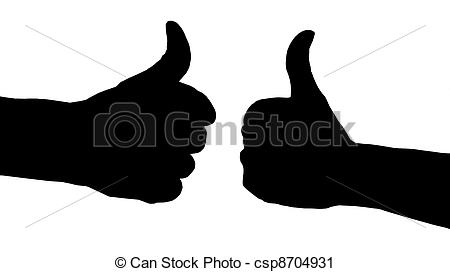 Clipart thumbs up silhouette freeuse Clipart of pair of thumbs up silhouette csp8704931 - Search Clip ... freeuse