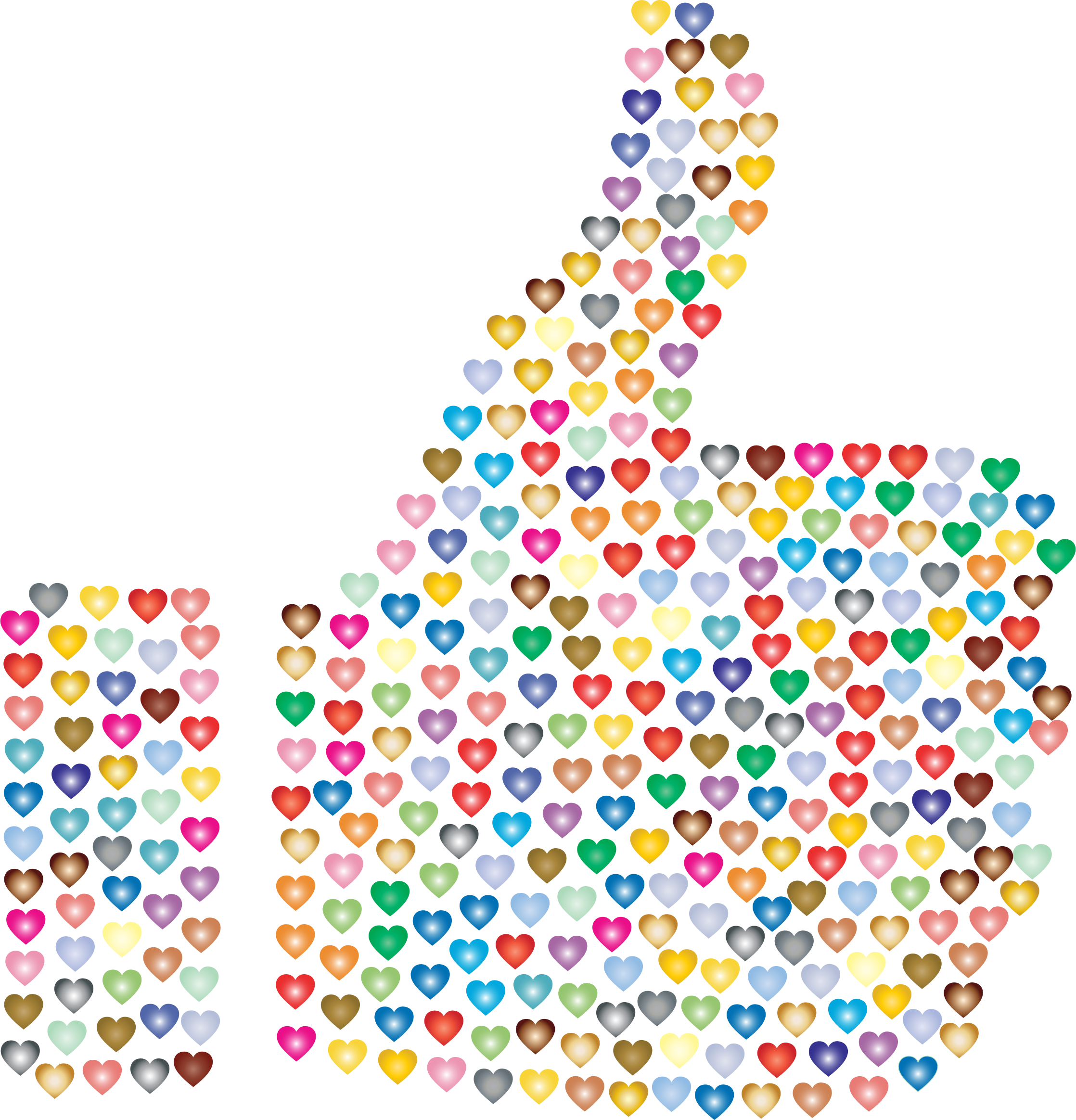 Clipart thumbs up silhouette graphic stock Clipart - Prismatic Hearts Thumbs Up Silhouette 3 No Background graphic stock