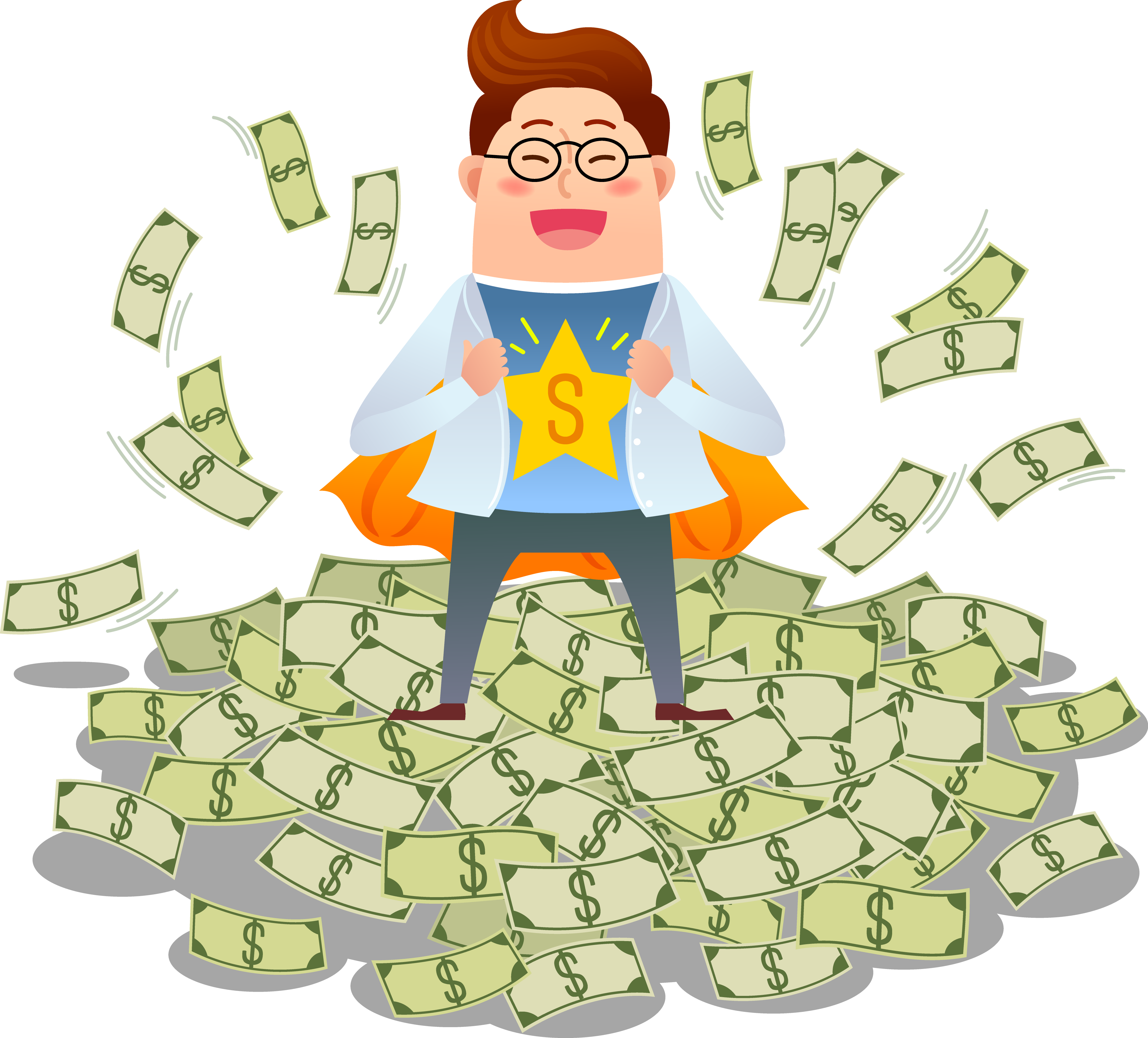 Clipart thumbs up with money vector black and white Superman Money Cartoon Clip art - Superman dress up with money 4442 ... vector black and white