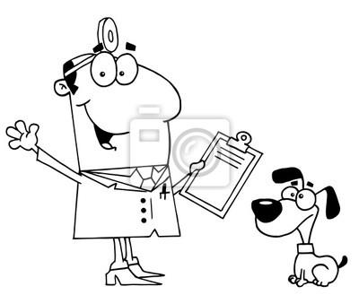 Tierarzt clipart clip freeuse library Fototapete: Clipart illustration eines skizziert tierarzt und hund clip freeuse library
