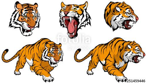 Clipart tiger design banner or bar freeuse download tiger vector set , vector graphic to design\