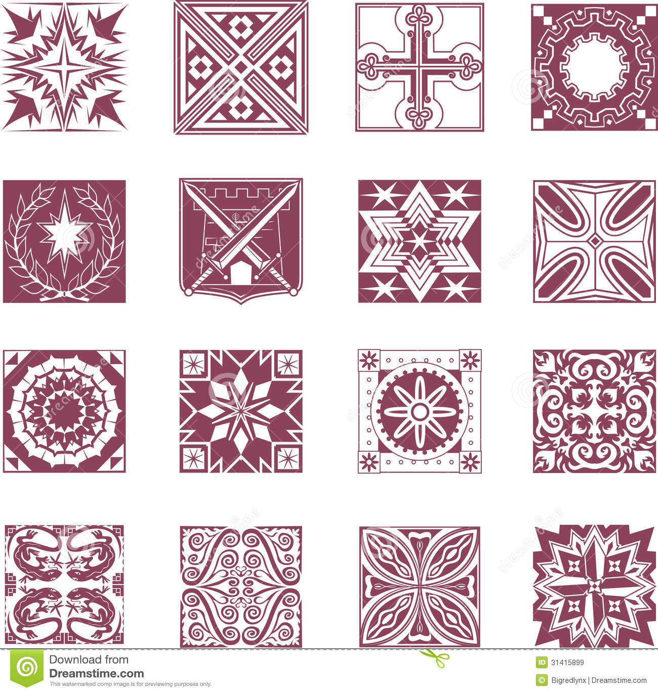 Ornate tiles royalty free. Clipart tile patterns
