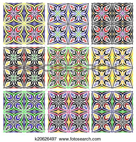 Clipart tile patterns. Clip art of traditional