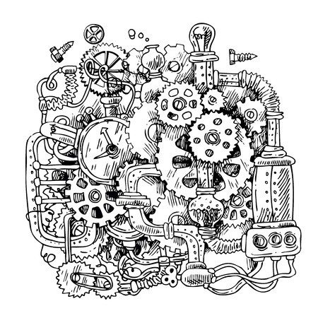 Clipart time machine black and white free picture royalty free stock Beautiful hand drawn sketch steampunk mechanism. Time machine ... picture royalty free stock
