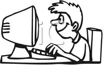 Person at computer black and white clipart clipart royalty free library Person Using Computer Clipart | Free download best Person Using ... clipart royalty free library