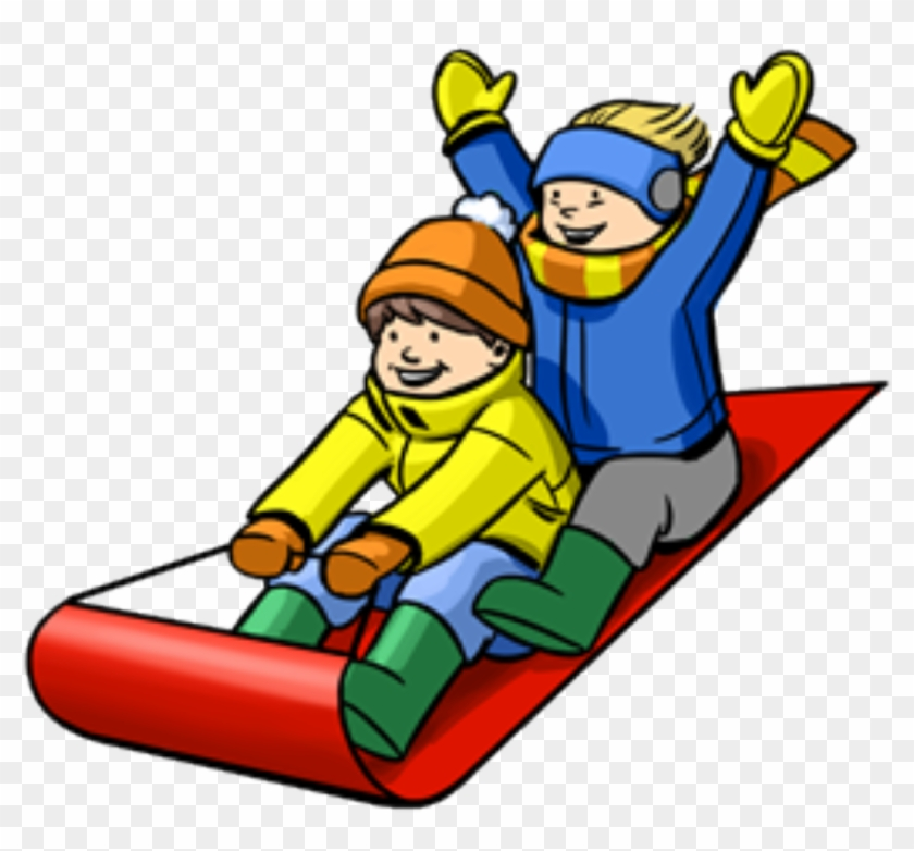 Clipart tobbogan picture royalty free Winter Obstacle Course - Kid Sledding Clipart, HD Png Download ... picture royalty free