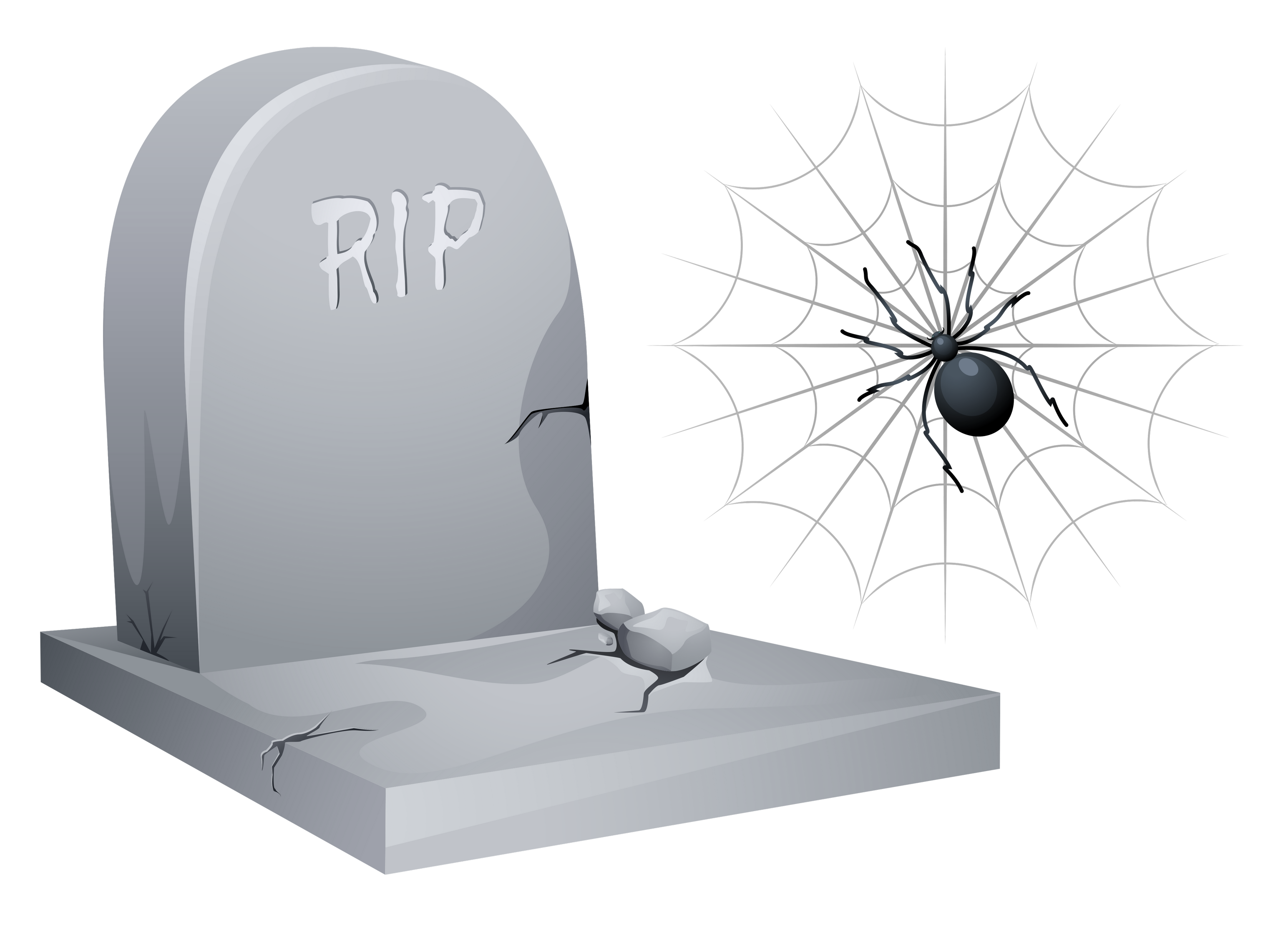 Halloween clipart tombstone vector free download Halloween RIP Tombstone with Spider and Web Clipart | Gallery ... vector free download