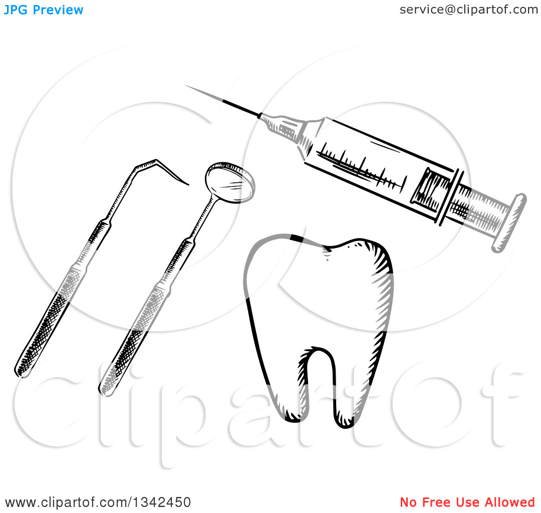 Clipart tools jpg clip art free library Clipart of a Black and White Sketched Vaccine Syringe, Dental ... clip art free library