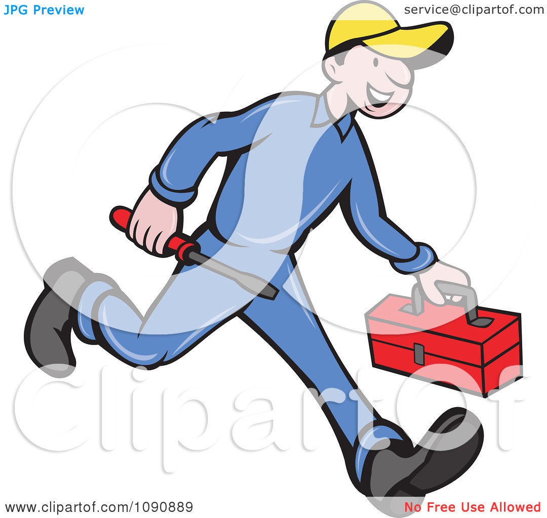 Clipart tools jpg free library Clipart Happy Repair Man Running With His Tools - Royalty Free ... free library