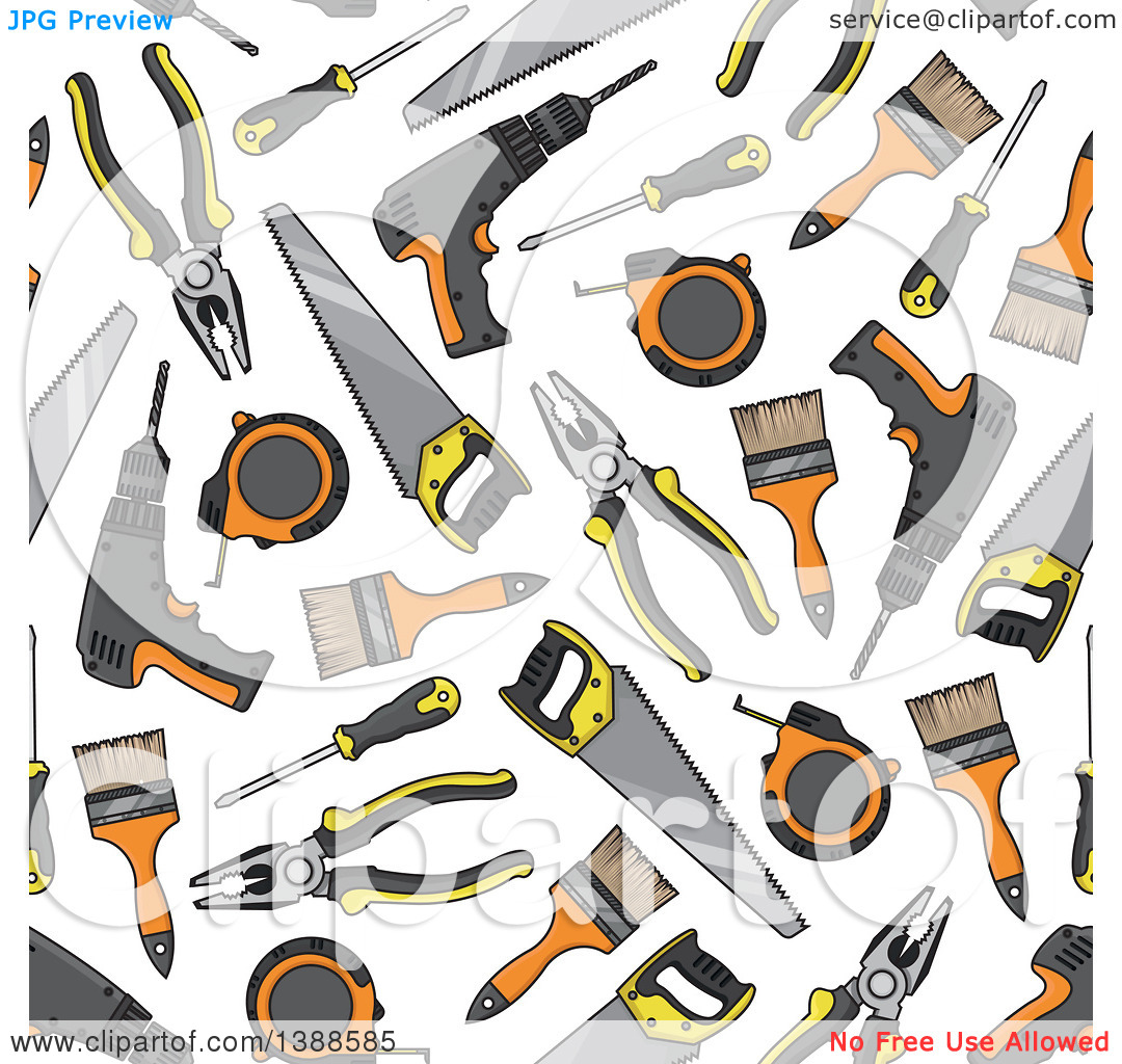 Clipart tools jpg jpg transparent library Clipart of a Seamless Background Pattern of Tools - Royalty Free ... jpg transparent library