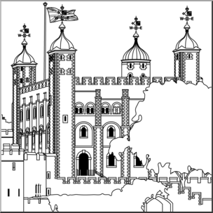 Clipart tower of london png download Clip Art: Tower of London B&W | abcteach png download