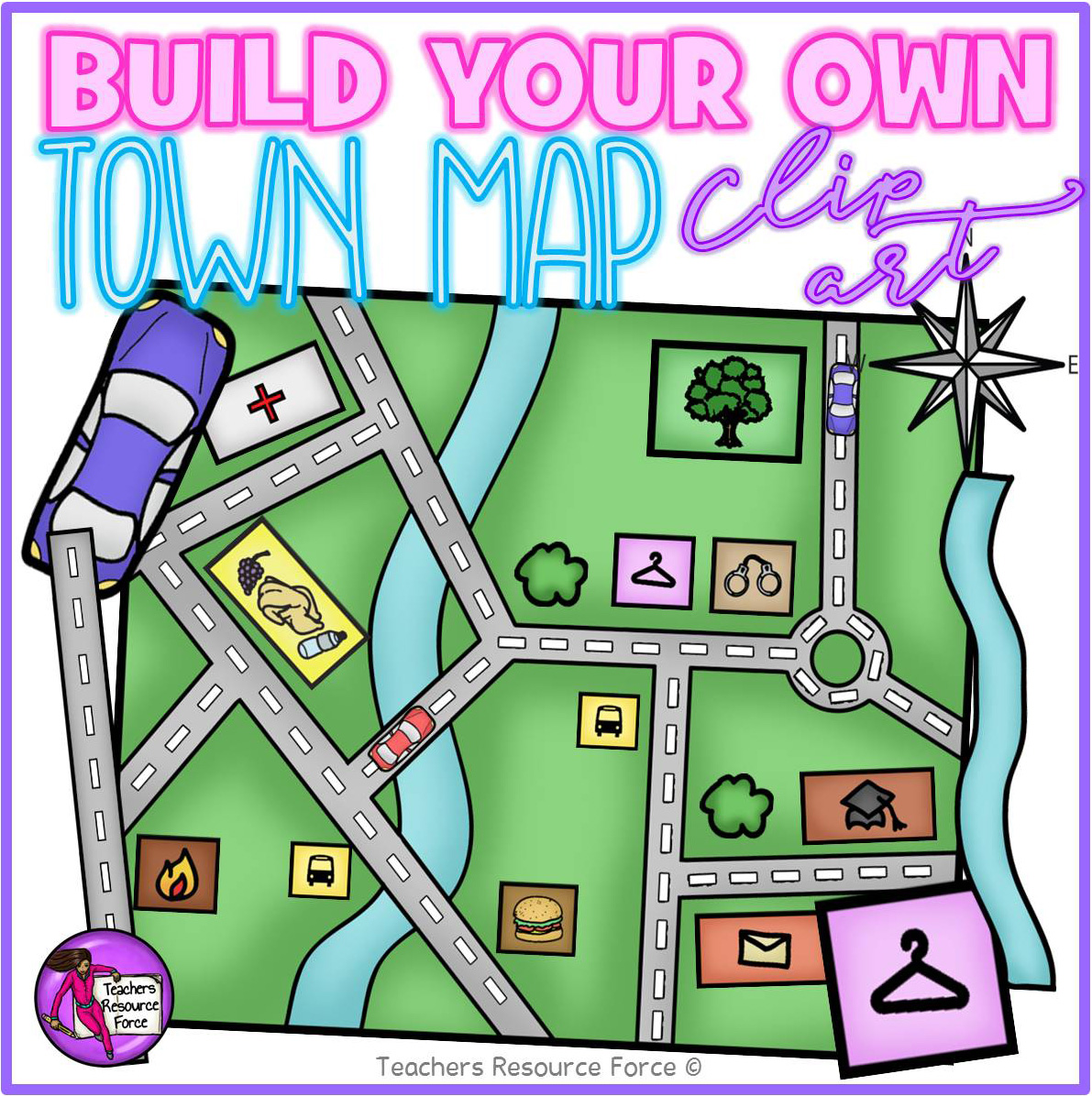 Build your own Town Map Clip Art svg freeuse stock