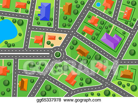 Townmap clipart picture royalty free library Vector Art - Map of suburb or little town. EPS clipart gg65337978 ... picture royalty free library