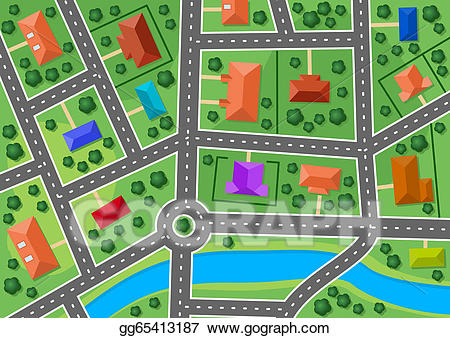Vector Clipart - Map of little town or suburb village. Vector ... clip freeuse library