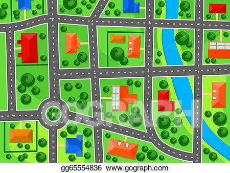 EPS Illustration - Map of suburb town. Vector Clipart gg65554836 ... graphic free library
