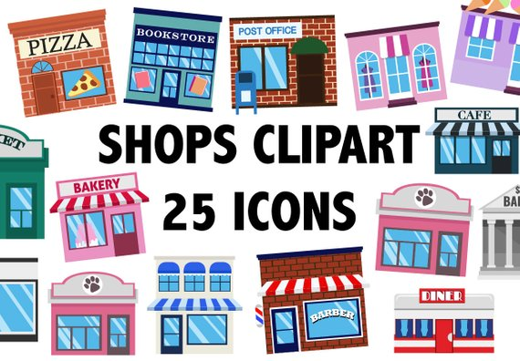 On the town clipart png transparent library SHOPS CLIPART - town building icons - CItyscape | Products ... png transparent library