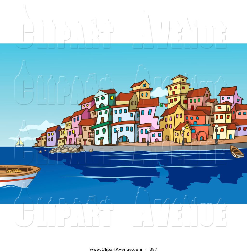 Clipart towns vector free Avenue Clipart of Boats and People in the Harbor near a ... vector free