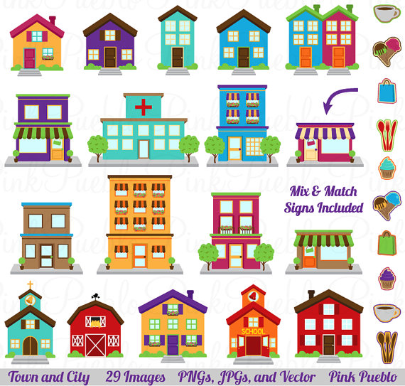 Clipart towns graphic black and white stock Clip Art Pictures, City Clipart Clip Art, Printable House Village ... graphic black and white stock