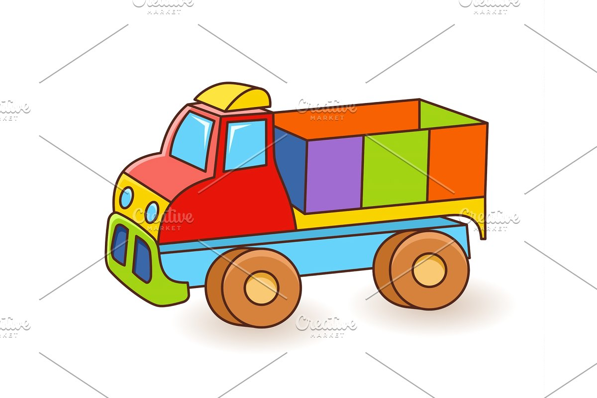 Toy truck kids wall. Flash card clipart