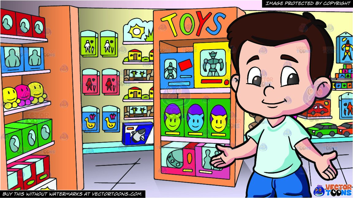 Tostore clipart jpg black and white stock A Preschooler Boy Ready To Play and Inside A Toy Store Background jpg black and white stock
