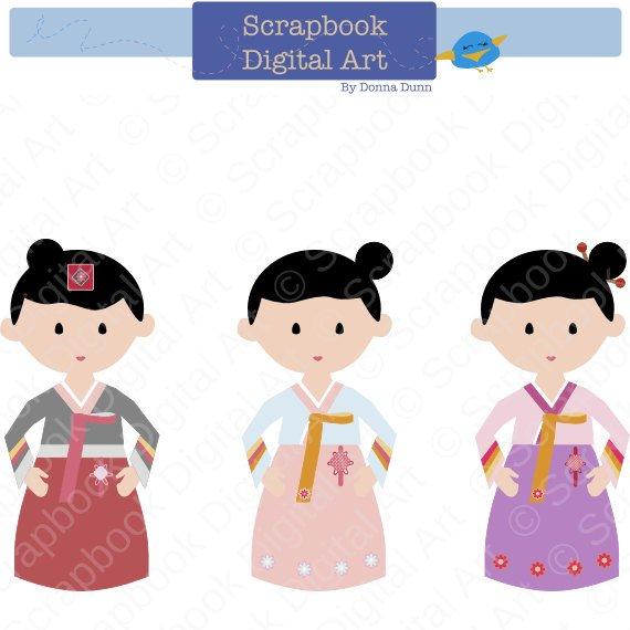 Clipart traditional dress picture black and white stock Korean Girl Hanbok, Hanbok Clip Art, Hanbok Girl, Korean Traditional ... picture black and white stock
