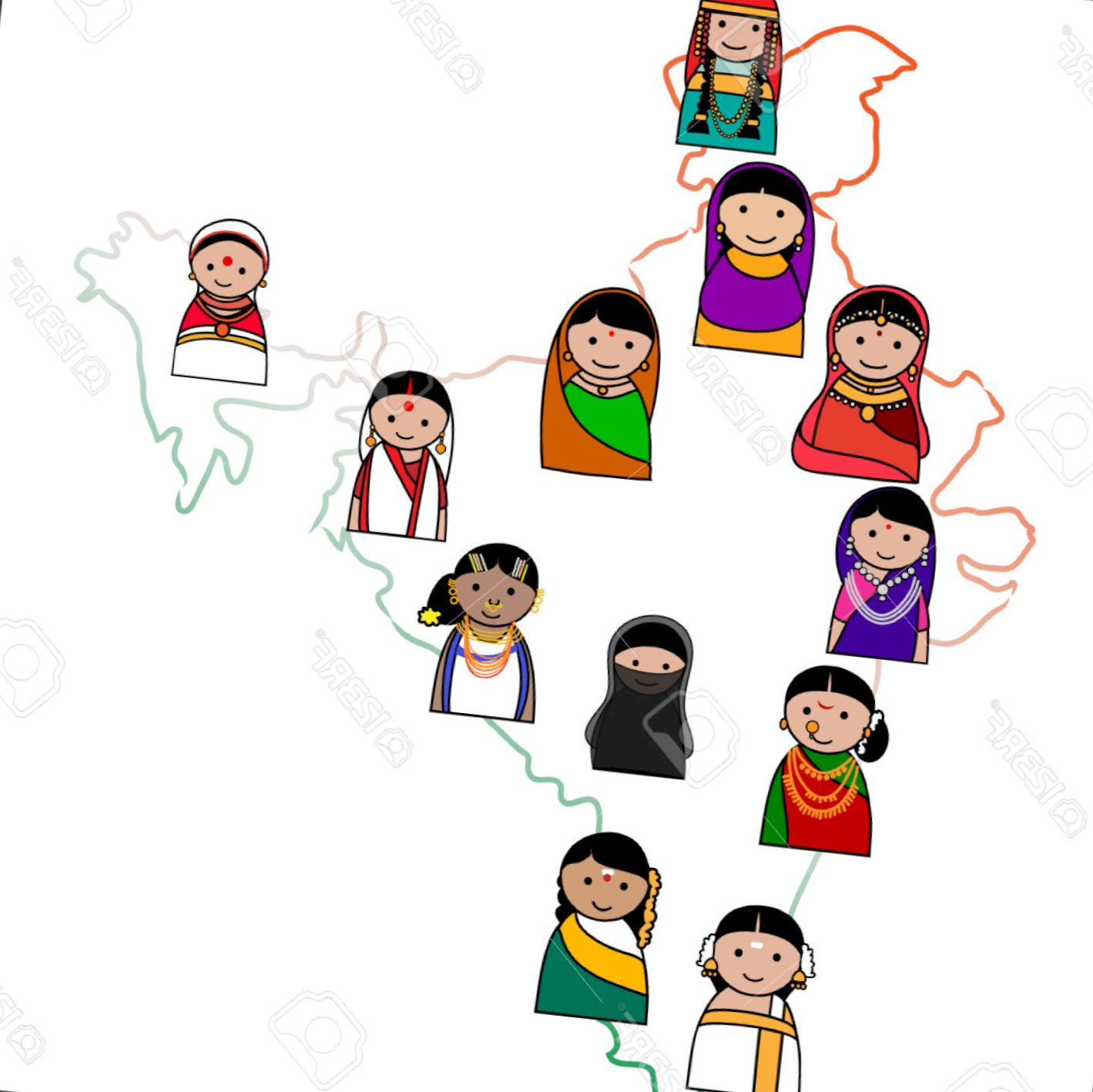 Clipart traditional dress graphic download Traditional dresses of indian states clipart 10 » Clipart Station graphic download