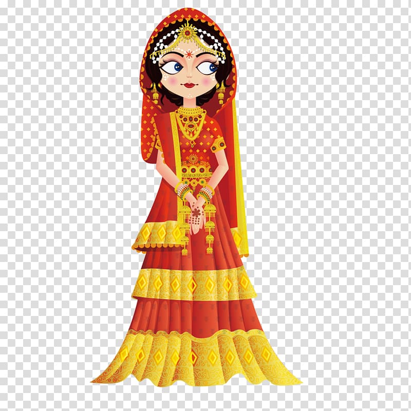 Clipart traditional dress clip library library Women\'s red and yellow traditional dress, Weddings in India Wedding ... clip library library