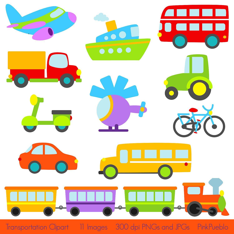 Clipart transportation picture transparent Transportation Clip Art Clipart with Car, Truck, Train, Helicopter ... picture transparent