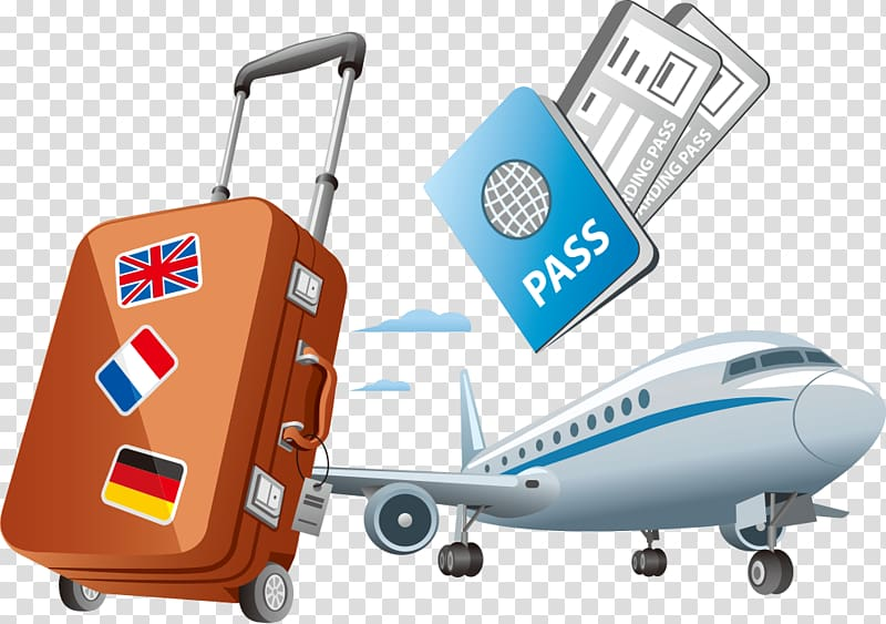 Clipart travelling jpg free stock Art of luggage, passport, and airliner, Air travel , foreign travel ... jpg free stock