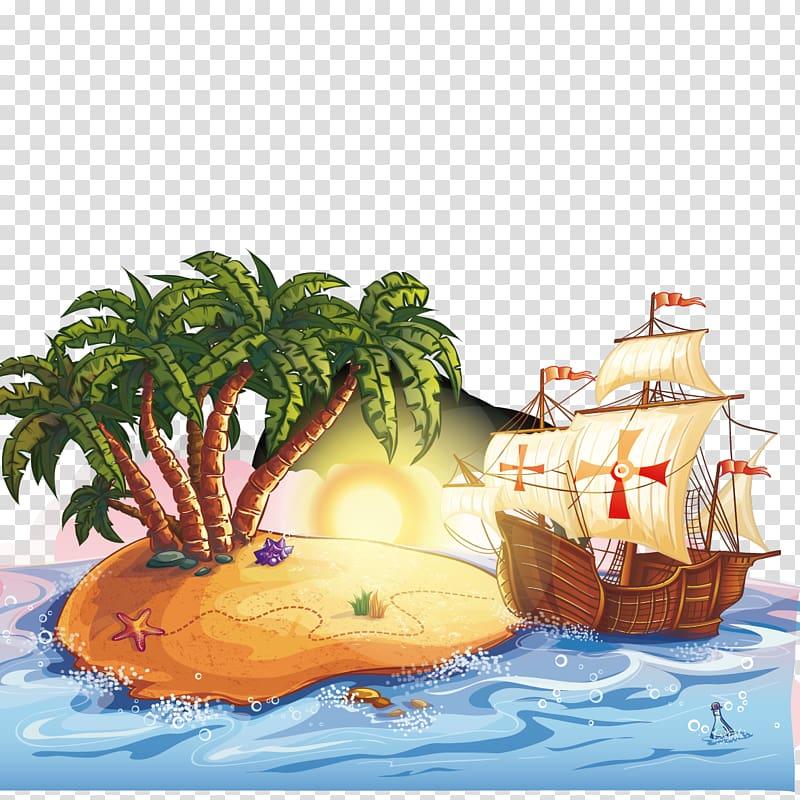 Clipart treasure island image free stock Treasure Island Hotel and Casino Cartoon Piracy Illustration, Tree ... image free stock