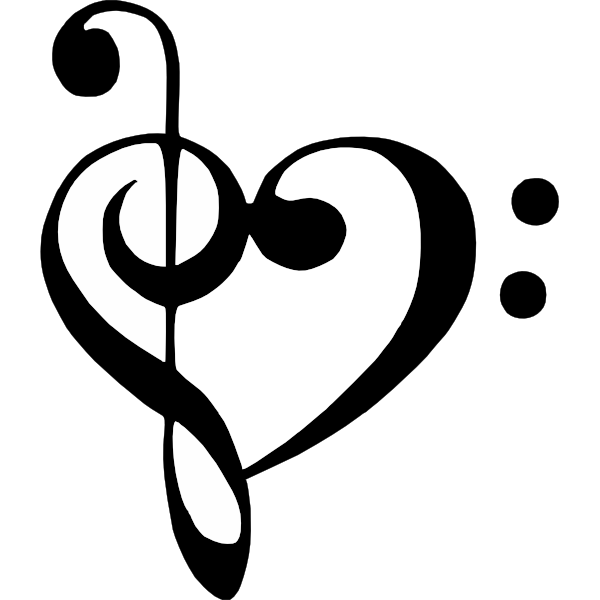 Clipart treble clef graphic free library Bass Clef Treble Clef Heart clip art - vector clip art online ... graphic free library