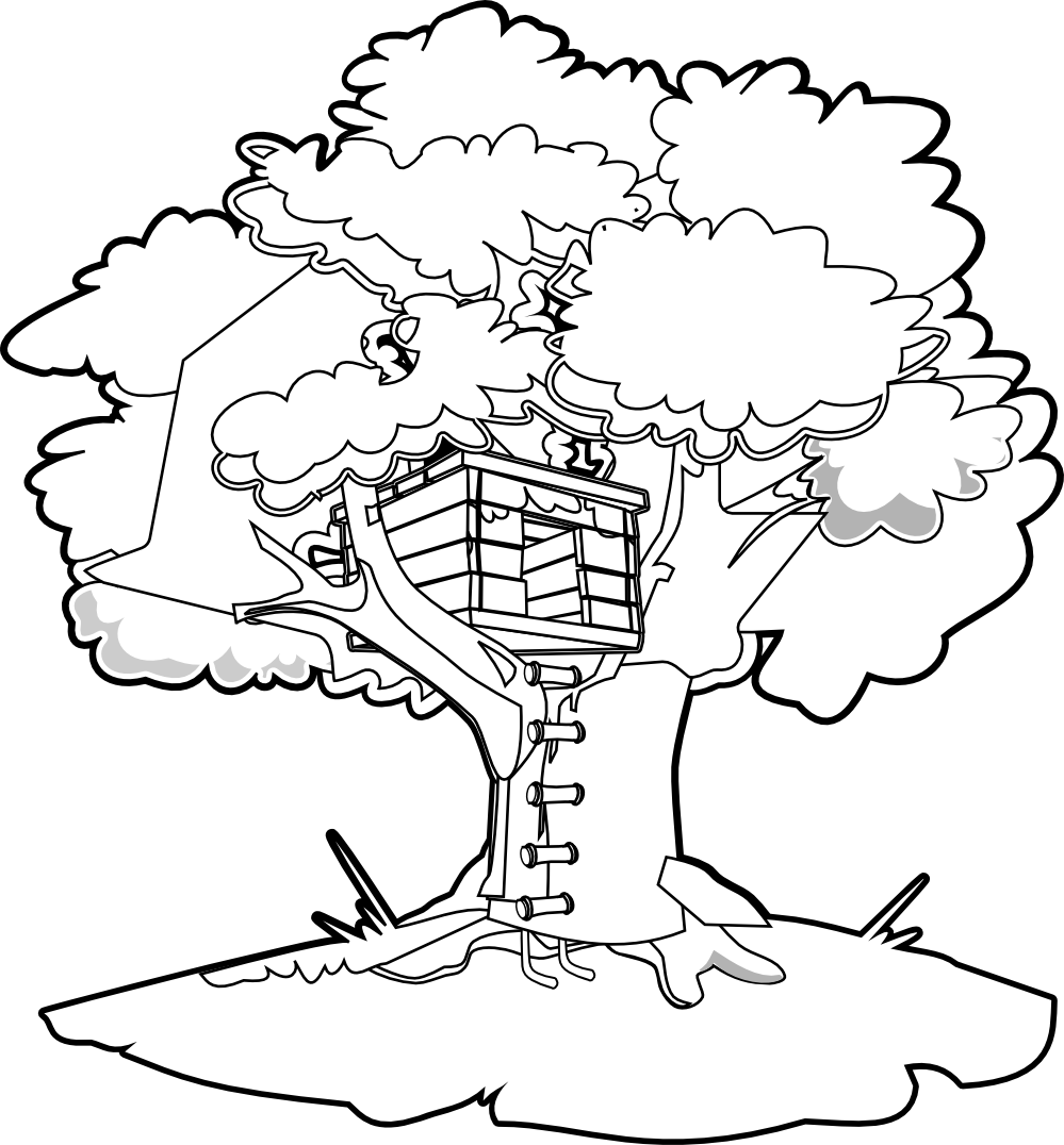House with tree clipart black and white clip clipartist.net » Clip Art » tree house black white line art SVG clip