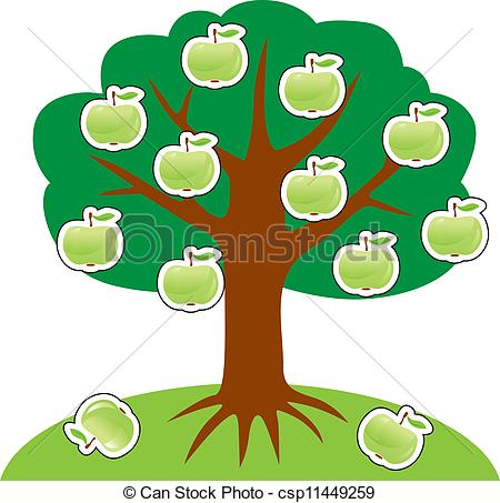 Clipart tree with apples svg Clipart Vector of Apple tree on a hill, hung with green apples ... svg