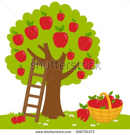 Clipart tree with apples clip black and white library Apple tree in a field clipart - ClipartFox clip black and white library