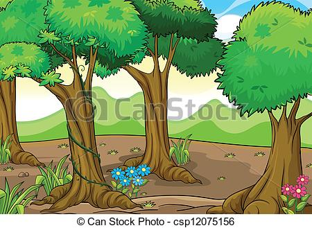 Clipart trees and flowers clipart transparent stock Clipart Vector of Trees and flowers - Illustration of trees and ... clipart transparent stock