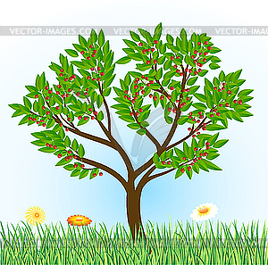 Clipart trees and flowers png free download tree with grass and flowers - vector clipart png free download