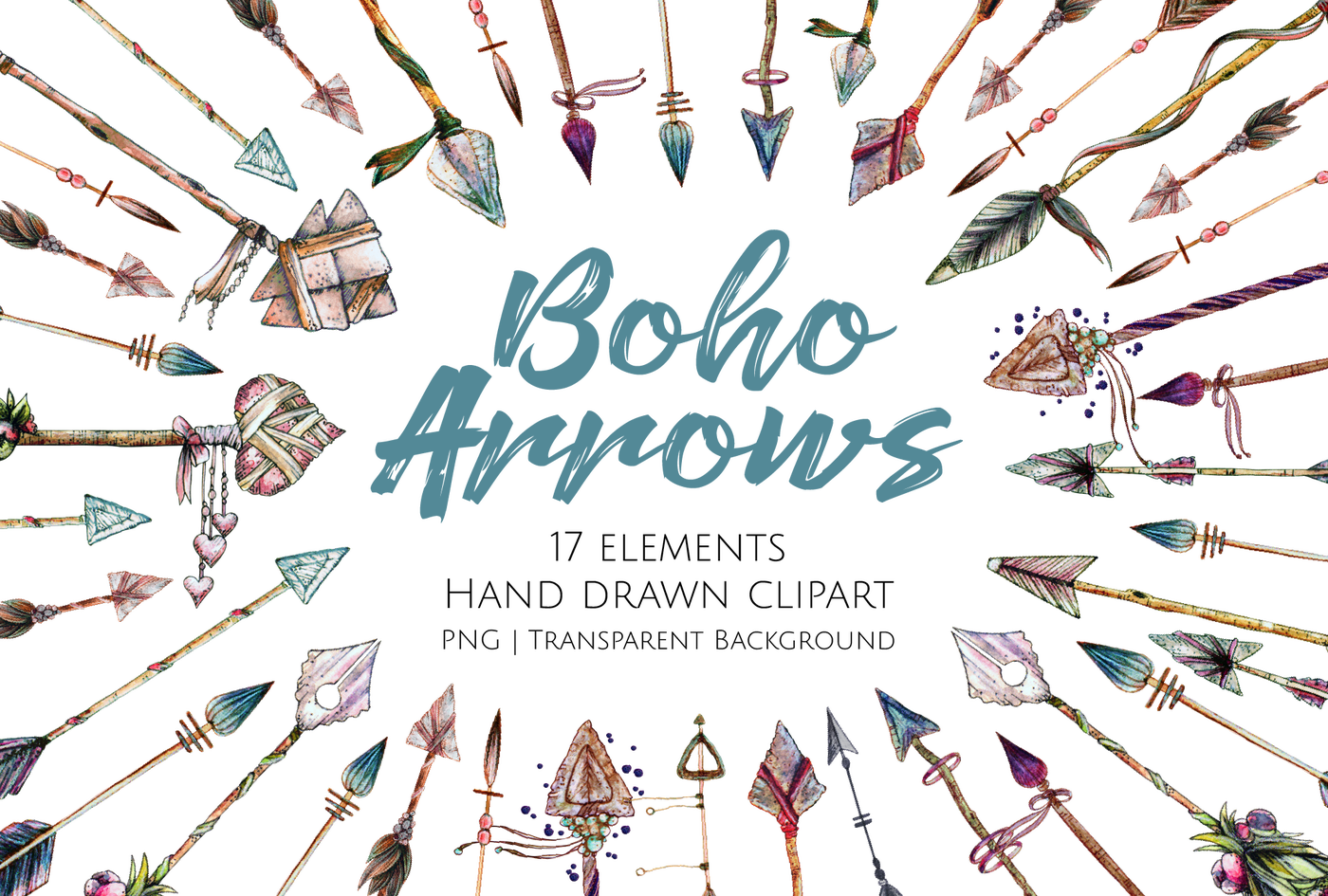 Tribal single arrow clipart free download Boho Arrows Hand Drawn Clipart Set by JessicaOxleyAI | TheHungryJPEG.com free download