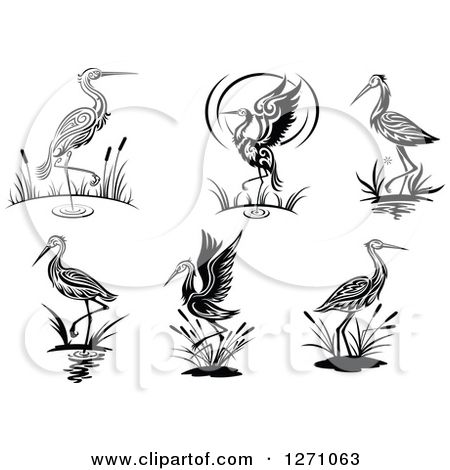 Clipart tribal foundation picture Clipart of Black and White Wading Tribal Cranes - Royalty Free ... picture