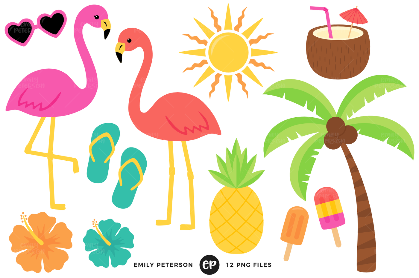 Clipart tropical image library library Tropical Clipart By Emily Peterson Studio | TheHungryJPEG.com image library library