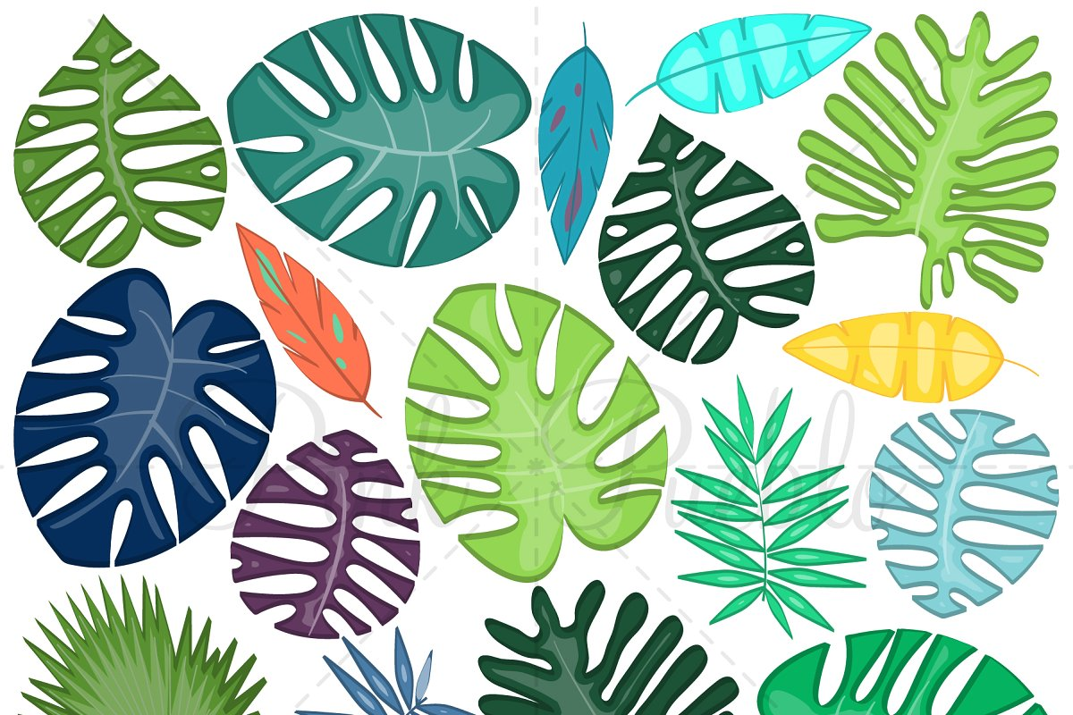 Clipart tropical picture freeuse download Tropical Leaves Clipart and Vectors picture freeuse download