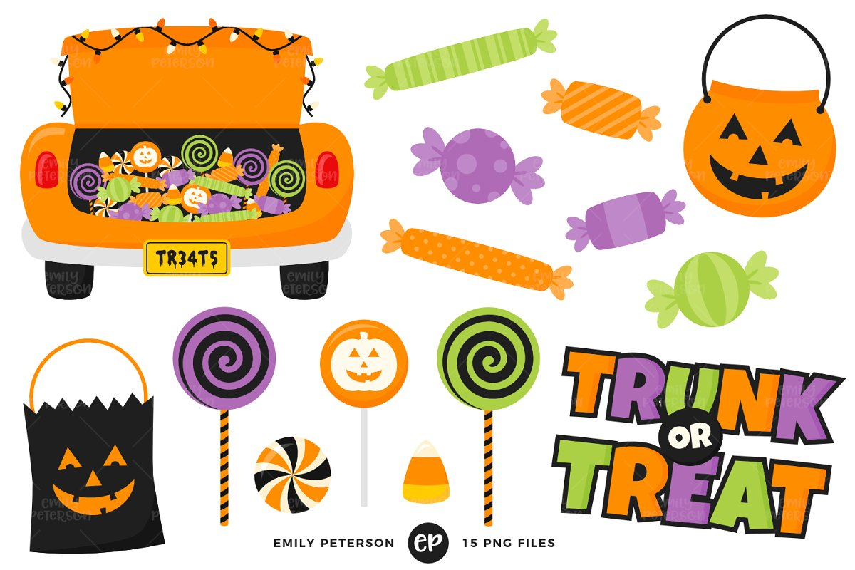 Clipart trunk or treat clip art black and white stock Trunk or Treat Clipart clip art black and white stock
