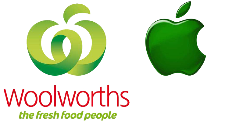 Clipart twice bitten apple royalty free stock Apple challenges new Woolworths logo royalty free stock