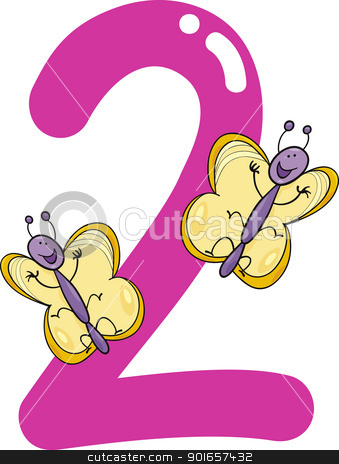 Numeral kid number and. Clipart two