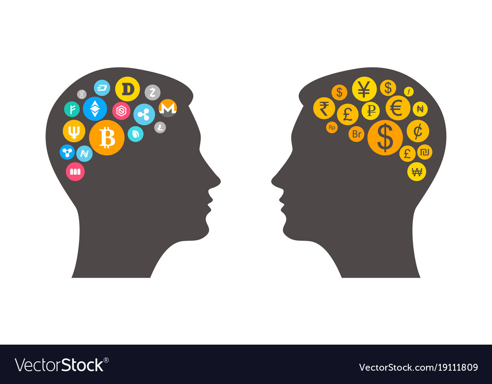 Clipart two heads clip Bitcoin innovation concept with two heads outline clip